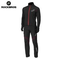 Rockbros bicicleta jaqueta pant conjunto de inverno calças térmicas jérsei grupos bicicleta terno ao ar livre à prova de vento reflexivo outwear|Kits ciclismo| |  -