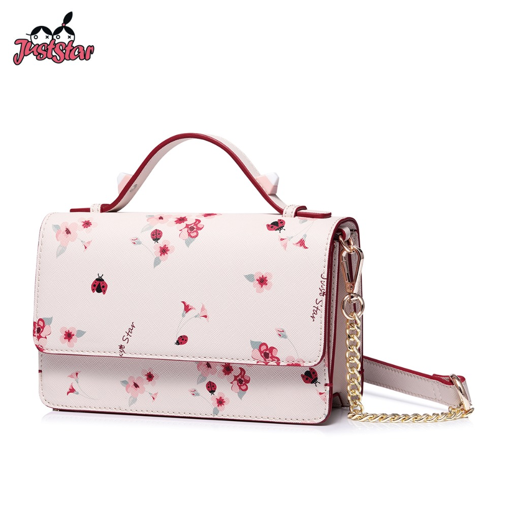 JUST STAR Women s Leather Handbags Ladies Fashion Flower Chains Shoulder Purse Female Romantic Printing Spring