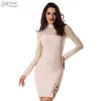 2016 Women Autumn Bodycon Bandage Dress Black Nude Red Mesh Long Sleeve Hollow Out Squined Lady