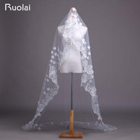 New Arrival Beige 3M Wedding Veils Long Lace Bridal Veils with Crystal and Flowers Velos de Novia Wedding Accessories FV29