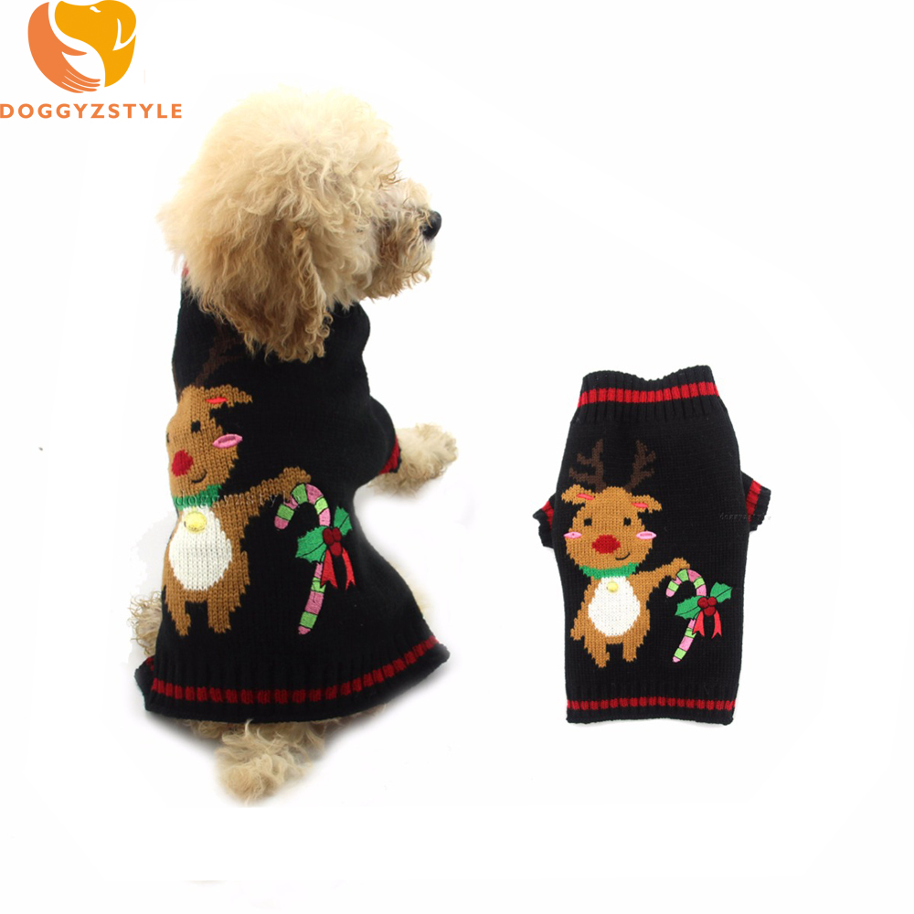 christmas sweater for dogs winter warm pet puppy dog jumper knitting clothing reindeer design xmas costume for small large dogs - Large Dog Christmas Sweaters