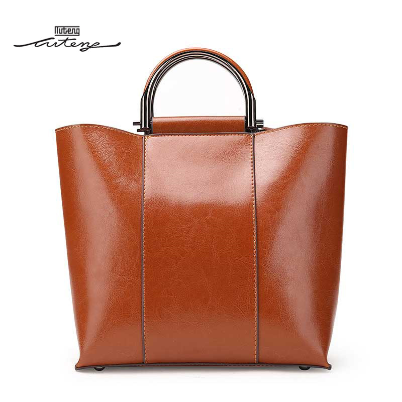 TU-TENG 2018 Hot Sale Women Metal Handle Modern Tote Elegant Bags Handbags Women Famous Brands Fashion Genuine Leather G84390 tu teng women elegant doctor bag 2 way tote luxury leather pure color 2018 fashion zipper elegant design lady black khaiki red