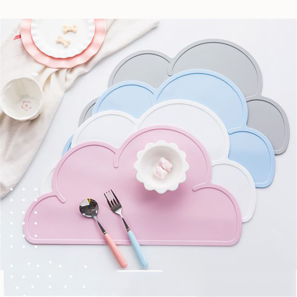 Cute Silicone Placemat FDA Bar Mat Baby Kids Cloud Shaped Plate Mat Table Mat BPA Free Waterproof Set Home Kitchen Pads 47x27cm (1)