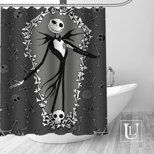 Skull Bathroom Curtain Fabric Polyester Waterproof The Custom 1pcs Before Christmas Nightmare