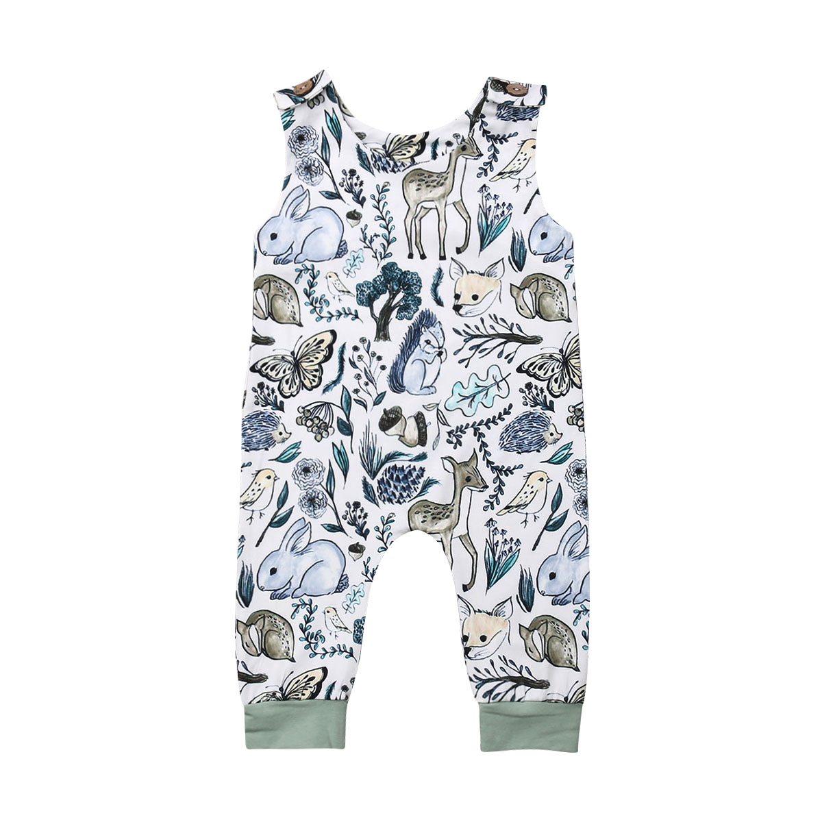Pudcoco Newborn Infant Baby Girl Boy Sleeveless   Romper   Jumpsuit One-Piece Overall Outfit