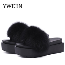 YWEEN Fur Slippers platform Women Fox Home Fluffy Furry Summer Flats Ladies Shoes Flip Flops women shoes