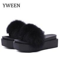 YWEEN Fur Slippers platform Women Fox Home Fluffy Slippers Furry Summer Flats Ladies Shoes Fox Fur Flip Flops women shoes