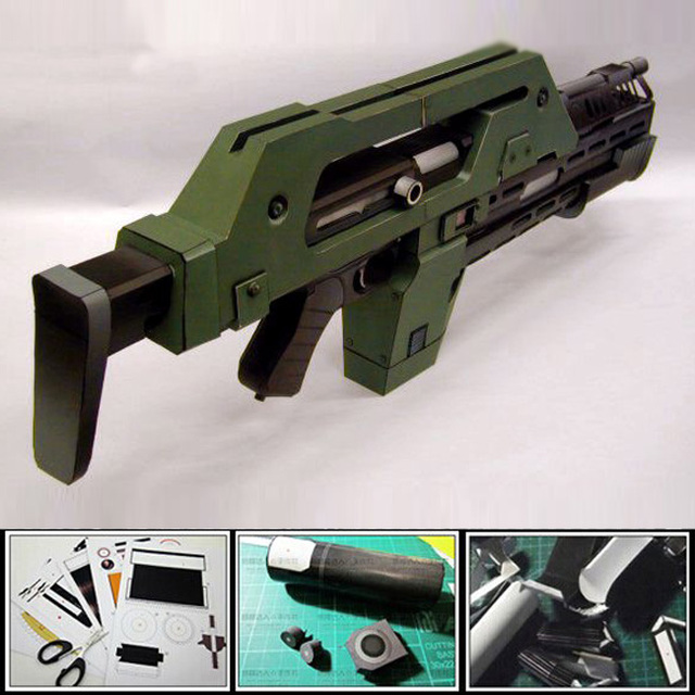 Free shipment 2016 Paper model Gun Alien M41-A Pulse Rifle1:1 scale 3d assembled military model toy Puzzles papercraft for adult