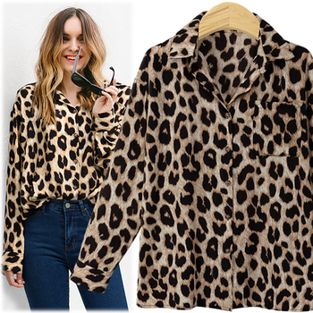 130a21cf5870e5 2018 frauen Bluse Leopard Print Shirt Lange hülse Drehen-unten Kragen Top  Lose Blusen Plus Größe Camisa Feminina Kleidung