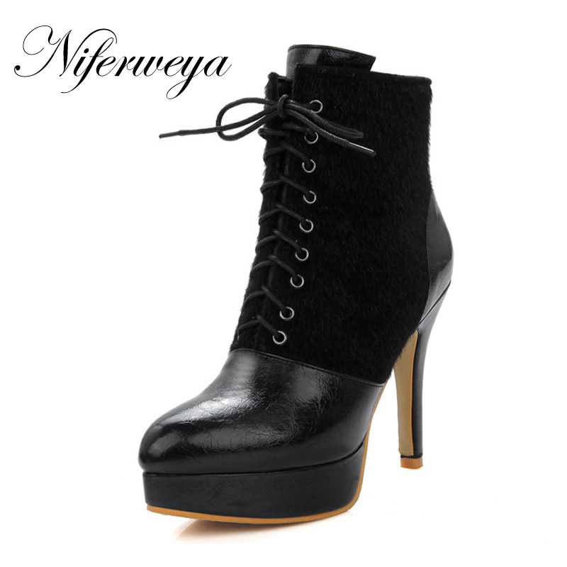 Fashion Pointed Toe Lace Up Ankle boots big size 32 46