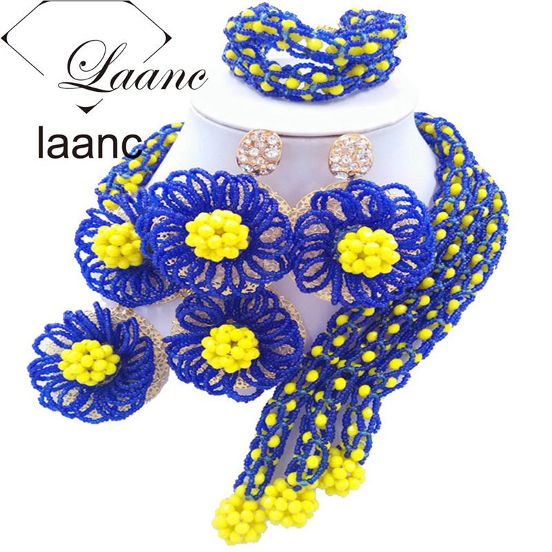 Laanc Royal Blue Yellow Wedding Bridal Jewelry Sets for Brides Nigerian Beads Flower Necklace and Earrings FBFE002