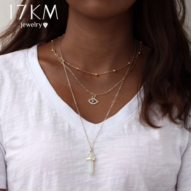 17KM Vintage Opal Stone Chokers Necklaces Fashion Multi Layer Crystal Eye Pendant Necklace Statement Bohemian Jewelry for Women