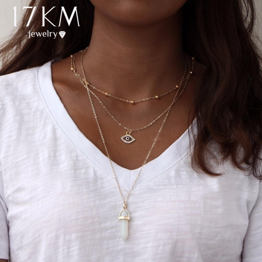 17KM Vintage Opal Stone Chokers Necklaces Fashions