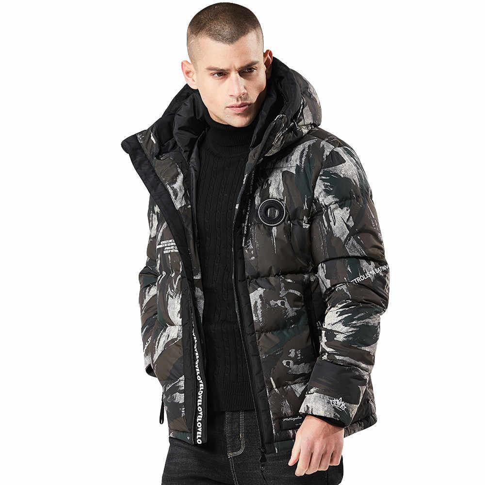 2019 冬のジャケット男性パーカー迷彩印刷肥厚コットンウォーム生き抜くジャケットコートプラスサイズパーカー男性服