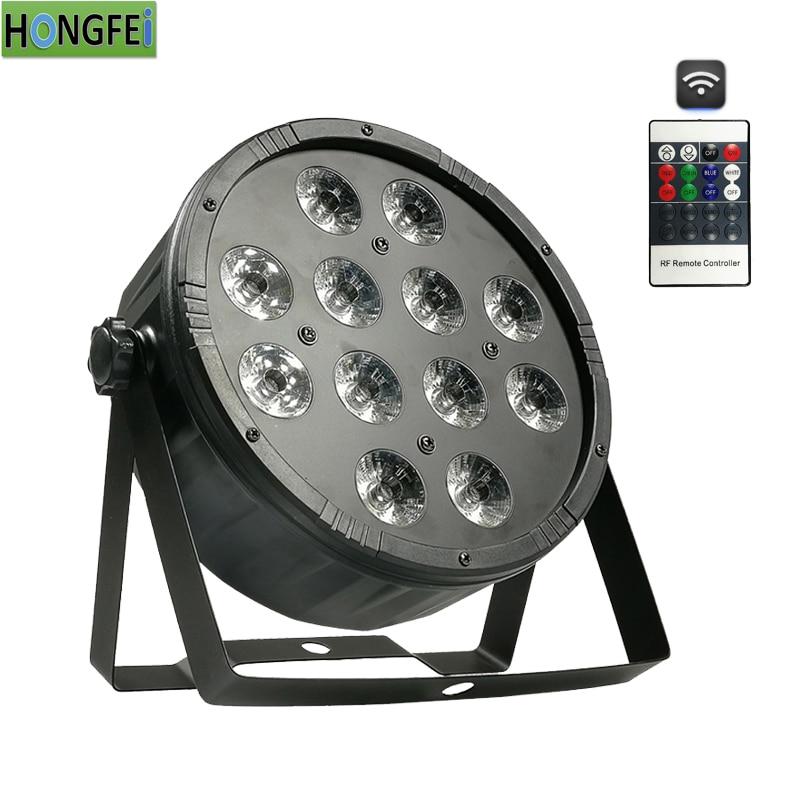 Remote control version 12x12w led par rgbw 4in1 flat par light dmx512 professional stage lighting equipment
