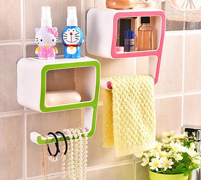 Nová móda 9 tvar zdi závěsné police regál Koupelna úložiště stojan mýdlo držák Koupelna organizátor sprcha úložiště WC organizátor