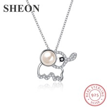 SHEON 925 Sterling Silver Sparkling Crystal Lovely Animal Elephant Pendant Necklaces for Women Authentic Jewelry