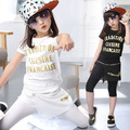 children girls clothing sets summer 2016 girls 2 pieces set black white letter t-shirt and skirts pants children clothes suits