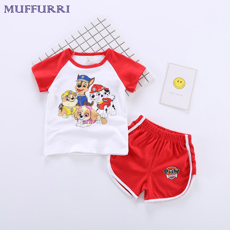 Muffurri Baby Clothes Set Summer Boy Girls Clothing Paw Patrol Causal T-Shirt Tops + Shorts 2pcs Kids Suit for 1-6Years Children 2pcs children outfit clothes kids baby girl off shoulder cotton ruffled sleeve tops striped t shirt blue denim jeans sunsuit set