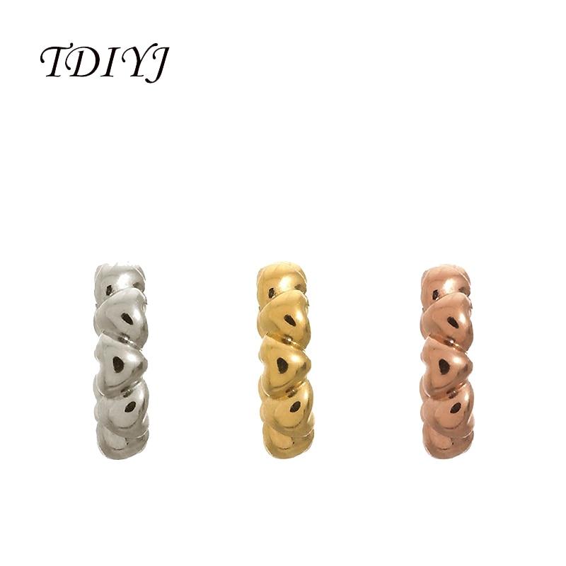 245d4e62 TDIYJ 6 Sztuk Moda 6 MM Średnica Kształt Serca Charms fit dla Prawdziwej  Skóry Bransoletki dla Kobiet Biżuteria Akcesoria