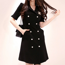Double-breasted Notched Neck  Dress Women 2019 Summer Sexy  Bodycon Of