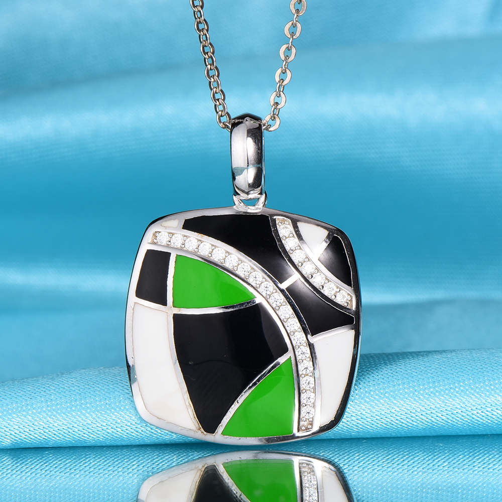 Geometric Enamel silver Pendant For Women Necklace Chain 925 Sterling Silver Necklace Pendant European Party Jewelry