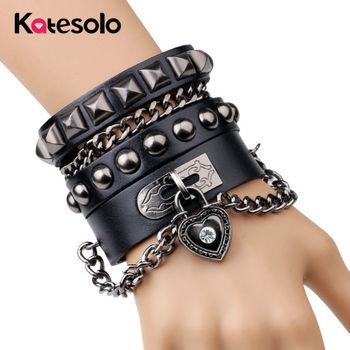 Vente chaude De Mode Punk Rivet Large Bracelets En Cuir Hommes Pour Femmes Manchette Vintage Rock Bijoux En Gros Bracelets Hombre