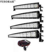 VISORAK 7D 22 32 42 52 inch CREE Chips Curved LED Work Light Bar 200W 300W 400W 500W For Tractor OffRoad 4WD 4x4 Truck SUV ATV