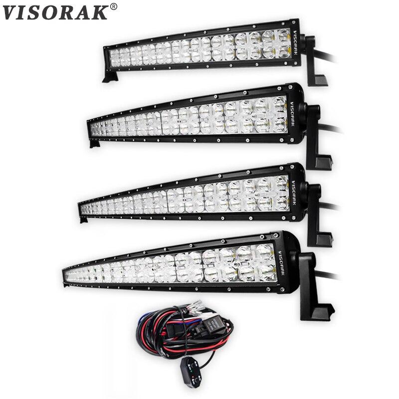 VISORAK 7D 22 32 42 52 pouce CREE Puces Courbé LED Travail Light Bar 200 w 300 w 400 w 500 w Pour Tracteur OffRoad 4WD 4x4 Camion SUV ATV