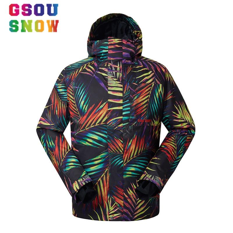 Prix pour Gsou Snow ski Ski Veste hommes Étanche 10000 Coton Pad chaud Snowboard Veste manteau de neige mâle extérieur ski hiver veste mâle