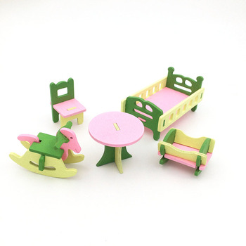 1:12 Dollhouse Miniature Furniture Wooden Creative Bathroom Bedroom Restaurant For Kids Action Figure Doll House Decoration Doll - 90542