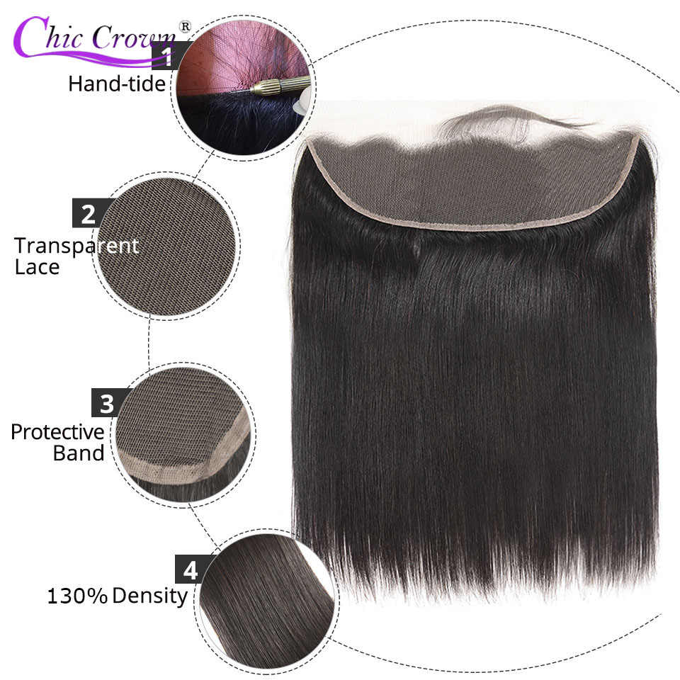 Straight Transparent Lace Frontal 13X4 Ear To Ear Free Part Chic Remy Brazilian Human Hair Clear Lace Closure Natural Color