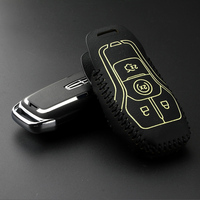 Luckeasy Leather Car Key Case For Ford F150 2016 Mustang 2015 2017 Lincoln MKC MKZ 2016