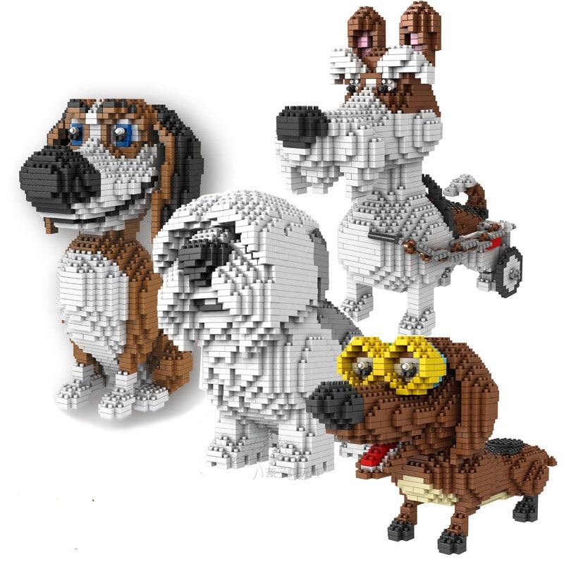 Cartoon Dog Mini Block Beagle Hound Schnauzer Dachshund Sheep Dog DIY Building Brick Toy For Kids Box Gift