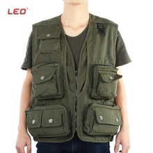 LEO Water-resistant Army Green Mutil-Pocket Fishing Vest For Outdoor Fishing Hiking