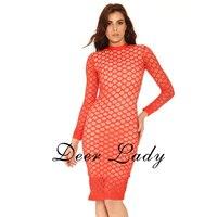 Black Bandage Dress 2016 Kim Kardashian Dress Long Sleeve High Neck Lace Dress Red Mesh Dress