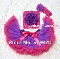Фиолетовый ярко-розовый Детская юбка-американка, фиолетовый пион ярко-розовый вязаный Топ, ярко-розовый ободок Пурпурная роза 3 шт. комплект...