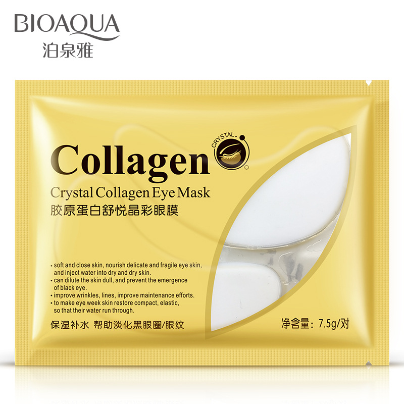 10 pcs/lot BIOAQUA Crystal Collagen Gold Powder Eye Mask Anti-Puffiness Anti-Aging Soothing DarkCircle Moisturizing Eye Care