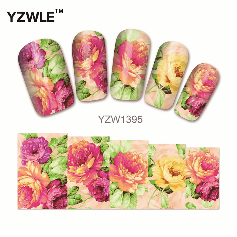 YZWLE 1Pcs Water Sticker Nails Beauty Wraps Foil Polish Decals Temporary Tattoos Watermark For Nails (YZW1395) vinyl wraps decals camo nature realtree hunting game sticker for truck jeep size 1 50 30m roll