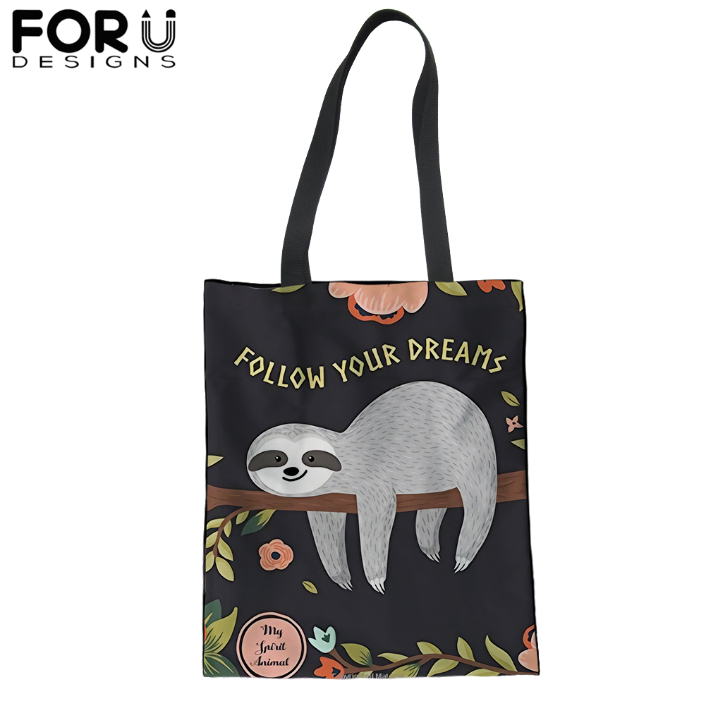FORUDESIGNS Cute Sloth Shopping Tote Bag for Women Canvas Satchel Handbag Lovely Animal Shoulder Bags