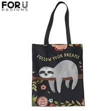 FORUDESIGNS Cute Sloth Shopping Tote Bag for Women Canvas Satchel Handbag Lovely Animal Shoulder Bags