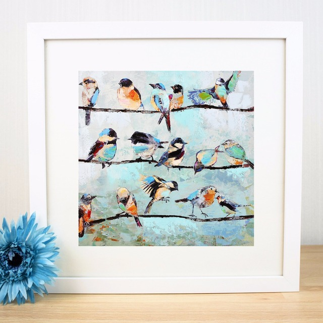 Birds On A Wire Artwork Canvas Art Print Painting Poster Wall ...