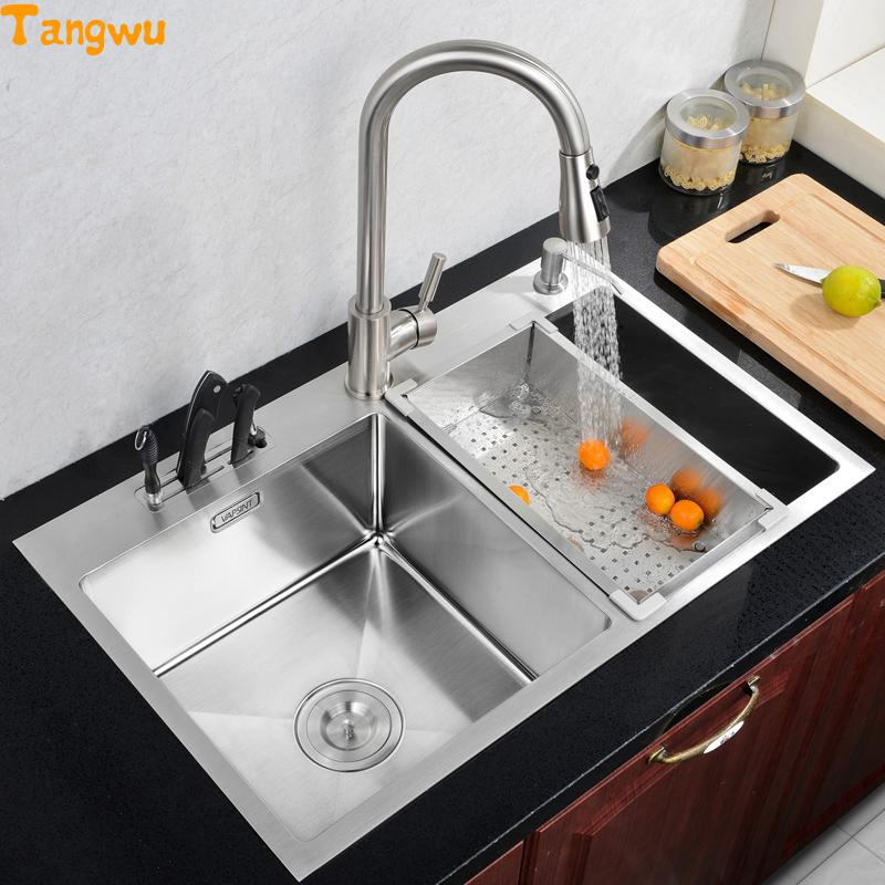 Kitchen Sinks Free shipping kitchen 304 stainless steel basin washing dishes double trough Kitchen Sinks