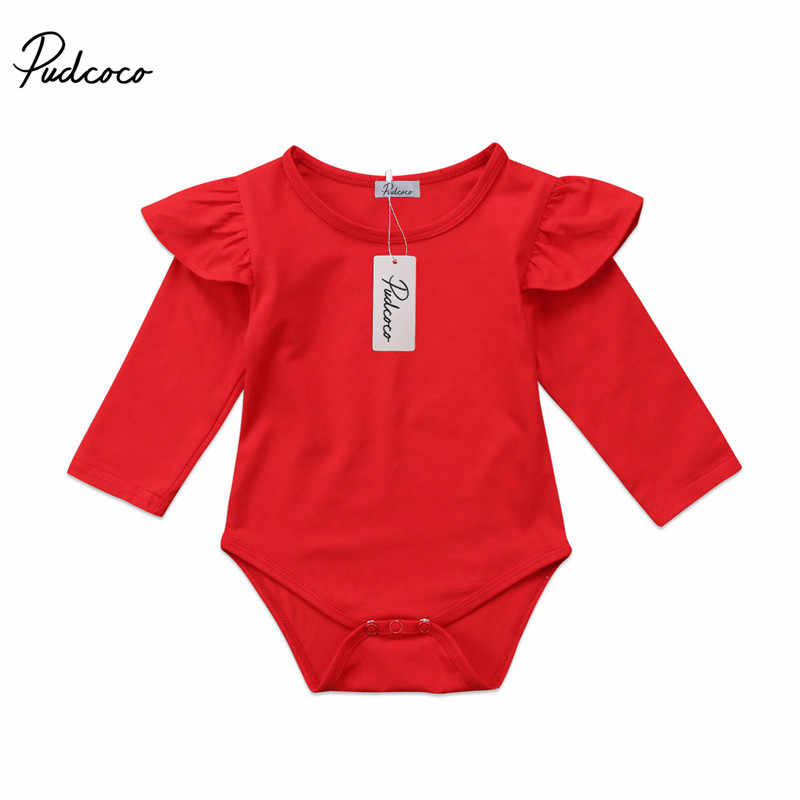 New Newborn Kid Baby Girls Bodysuits Ruffle Autumn Long Sleeve Bodysuit Solid Red Girls Clothing Cotton Jumpsuit Outfits Clothes