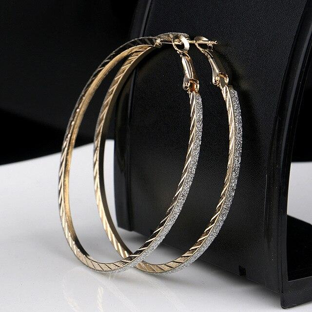 6cm Gold Silver Hoop Earrings Round Dangle Earring Crystal Diamante Jewelry Women Penntes Er923