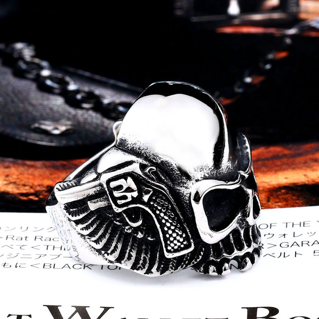 STAINLESS STEEL MEN BIKER SKULL RING