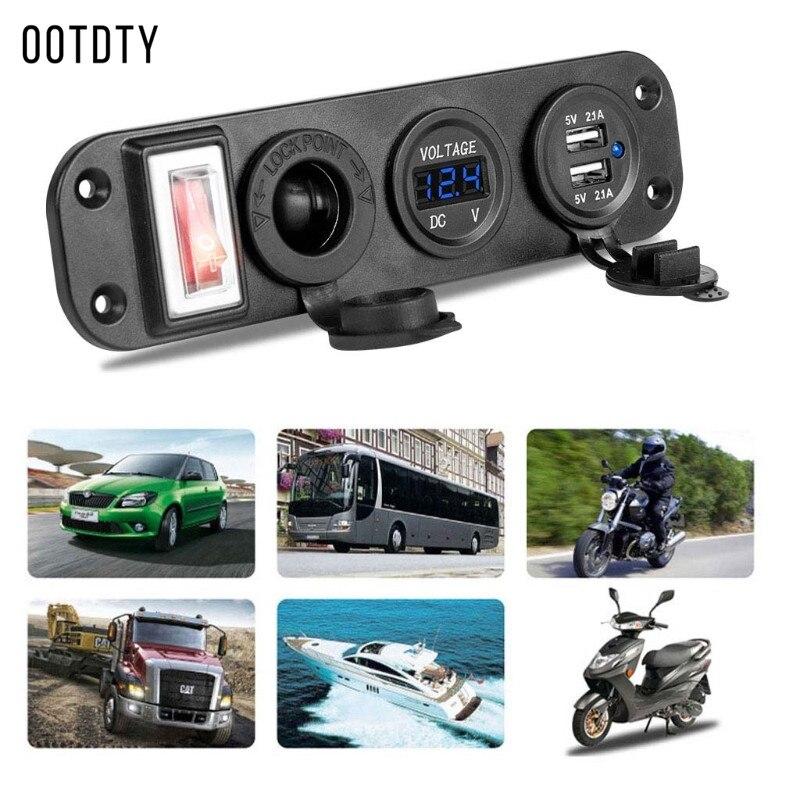 OOTDTY 1 Set Car Charger Dual USB Adapter DC 12V Cigarette Lighter Socket Plug With LED Voltmeter On Off Switch For Car Boat