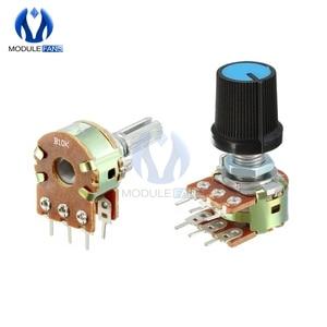 5PCS B1K B2K B5K B10K B20K B50K B100K B250K B500K B1M Potentiometer Resistor Linear Taper Rotary Cap Knob Ohm Diy Electronic