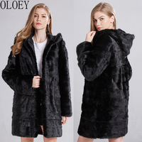 OLOEY natural mink fur coat warm full leather coat Russian fashion leather real mink jacket Genuine Leather coats real fur coat