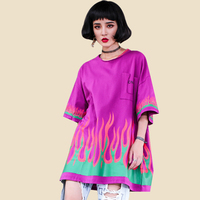 2018 Women's Fire Flame Print T Shirt Loose Large Size Oneck Tide Hip Hop Fashion Summer T Shirt